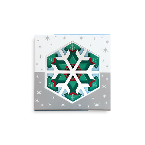 Flat square box with colorful cut out snowflakes with green, red, white, and light blue colors.