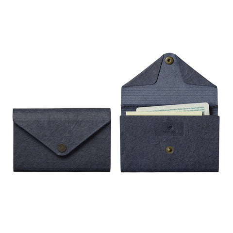 Front and interior view of the Farmer's Felt Double Case with an envelope style flap cover and brass snap closure.