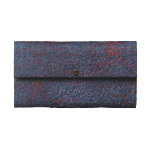 Farmer's Felt Triple Case Nest wallet featured in navy and red with a brass snap closure.