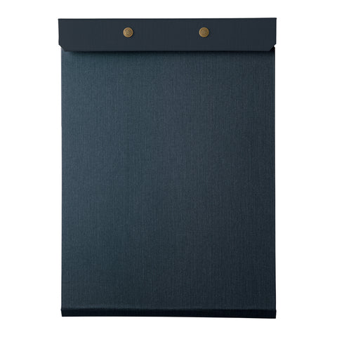 Letter-sized refillable notepad with snap closure for securing paper. Navy blue color is featured.