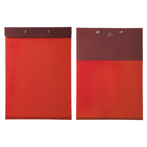 Front and back view of the letter-sized refillable notepad with snap closure in red with maroon border. The brand name and logo are embossed at center back in gold.