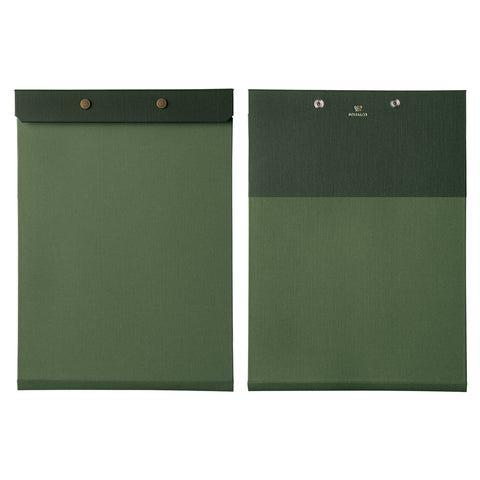 Front and back view of the letter-sized refillable notepad with snap closure in green with dark green border. The brand name and logo are embossed at center back in gold.