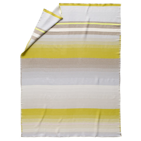 Wool throw with varying sized horizontal stripes in a fluorescent yellow and shades of gray.