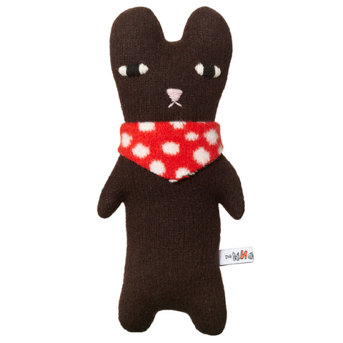 Bibi Bear, cuddly dark brown bear with pink embroidered nose, embroidered eyes, and a red and white polka-dot  bandanna around its neck.