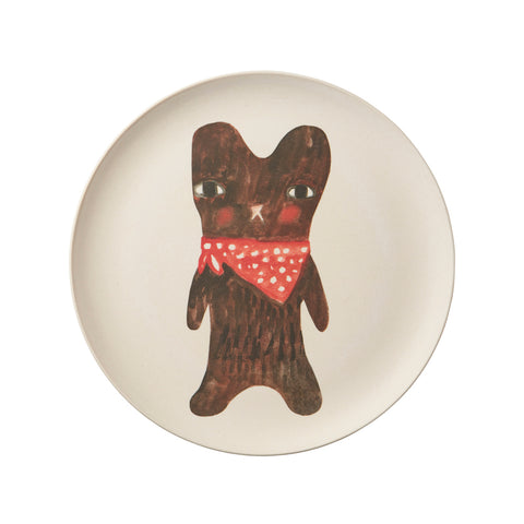 Small circular beige plate features a watercolor illustration of a brown bear at its center wearing a red and white polka dotted bandana
