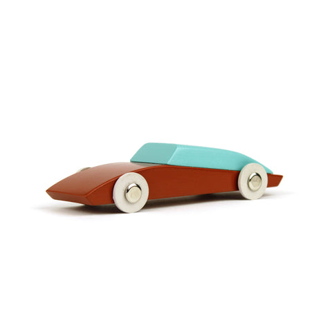 Duotone Car 3, a brown and turquoise wooden car with white wheels and silver metal hub caps, in profile facing left, against a white background