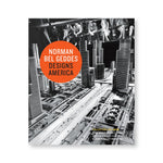 Book cover with orange dot containing title over a black and white photograph of fairgoers looking at a futuristic miniature city