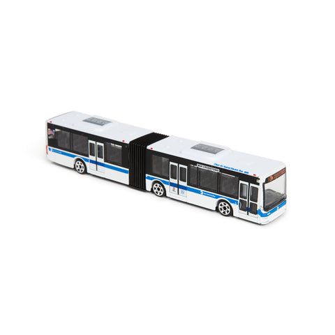 A side view of toy bus with 3 sets of wheels and a long articulated body. A blue horizontal stipe runs down the side and front of bus.