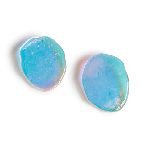Reverberation Earrings; transparent iridescent lucite earrings, hand made into ovals