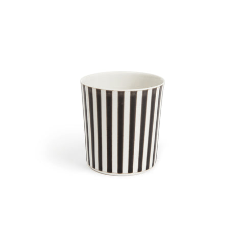 Short black and white vertical striped handmade porcelain glazed cup