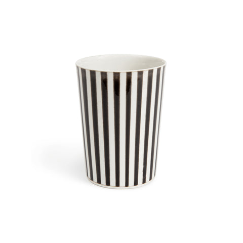Tall black and white vertical striped handmade porcelain glazed cup