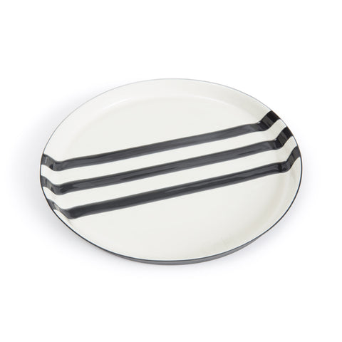 Large handmade glazed porcelain platter in white with three black stripes across the center.