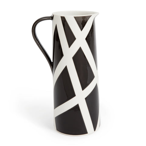 Glazed porcelain slim water pitcher featured in black with white diagonal stripe detailing