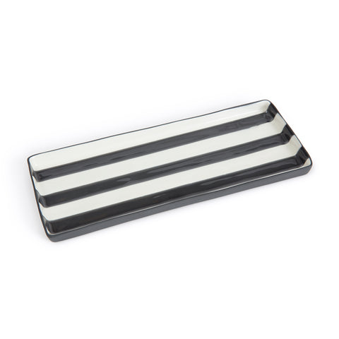 Narrow rectangular tray with 3 black horizontal stripe detail in the center. This tray is handmade glazed porcelain