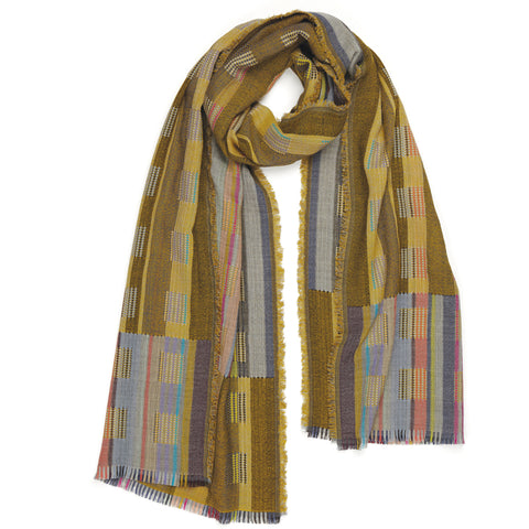 Penfold Wool Wrap woven with fine wool, with asymmetric double-cloth blocks of color and pattern.