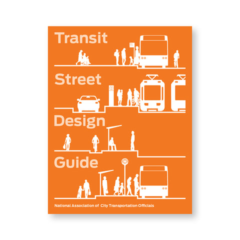 Orange book cover with four elevation schematics of public transporation design. Title in light orange spaced between four designs
