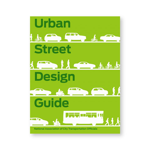 Lime green book cover showing four streets in elevation with figures and vehicles silhouetted in white. Dark green title space between the four streets