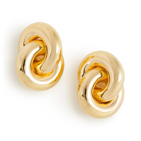 Cumulus Earrings; thick gold linked rings hang from a silver post