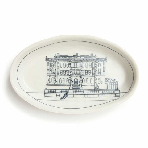 Porcelain tray features a blue etched drawing of the English Georgian country-inspired home.