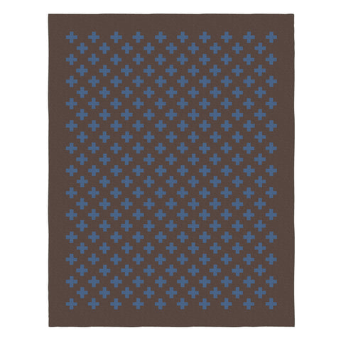 Woven rug with a pattern of blue plus signs on a brown background with brown border