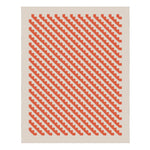Woven rug with pattern of diagonal saw tooth orange lines against a beige background with beige border
