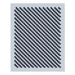 Woven rug with pattern of diagonal saw tooth black lines against a light gray background with light gray border