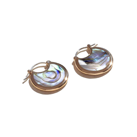 Small hoop earrings with a clasp post, made of abalone and brass trimming.