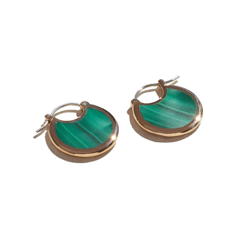 Small hoop earrings made of Malachite Mojave with a brass trimming.