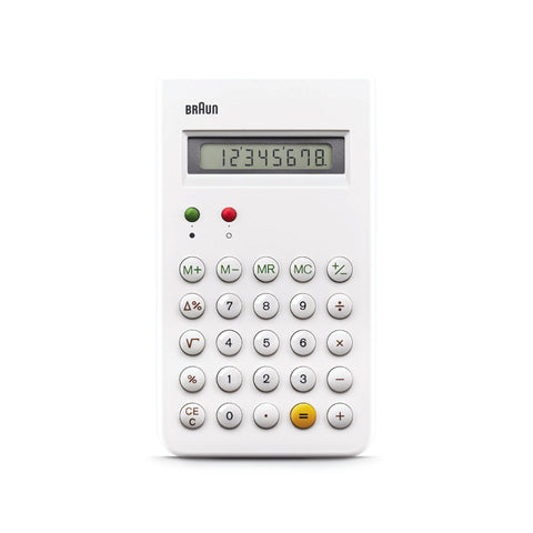 White calculator with green, red, white, and yellow buttons.
