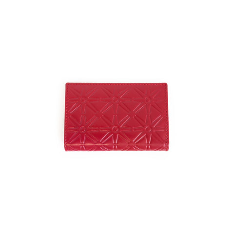 Red rectangular flap wallet with embossed detailing