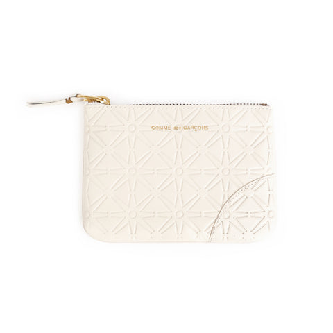 Square, off-White leather embossed wallet with tabbed top zipper and gold lettering near the top.