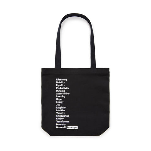 Black tote bag featuring the museum's campaign motto in white font.