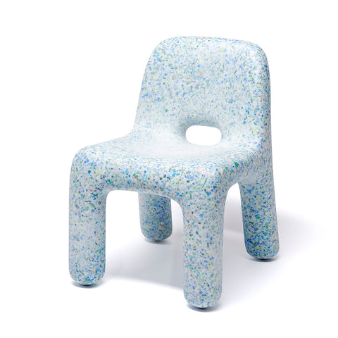 A small light blue and speckled chair