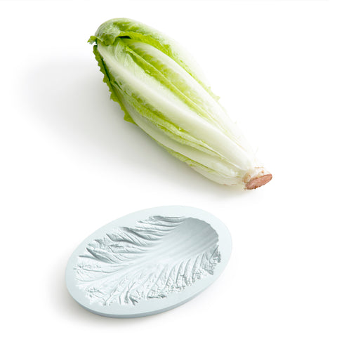 Picture of a green cabbage next to an oval bowl in light blue color reversed cabbage texture is visible inside the bowl.