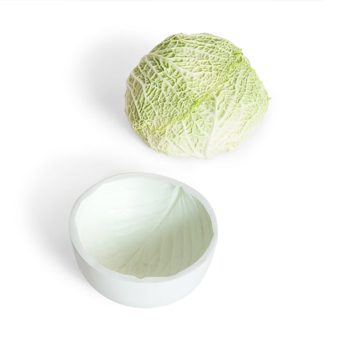Image of green cabbage next to a very light green circular bowl features a reversible surface of cabbage inside.