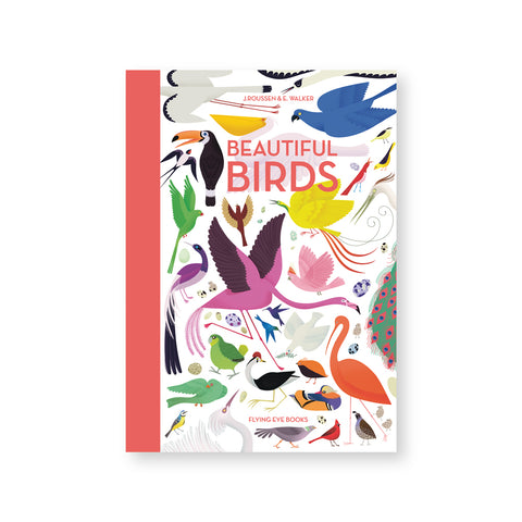White book cover with dense array of colorful bird illustrations. Title and spine in dusty pink color
