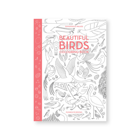 White book cover with illustrations of birds in thick black lines. Title in pink all caps letters near top and spine in the same color with white egg illustrations