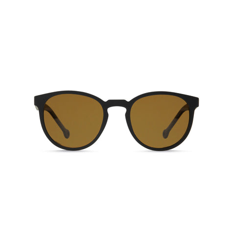 Matte-Black framed sunglasses with an oval lense and sepia tint