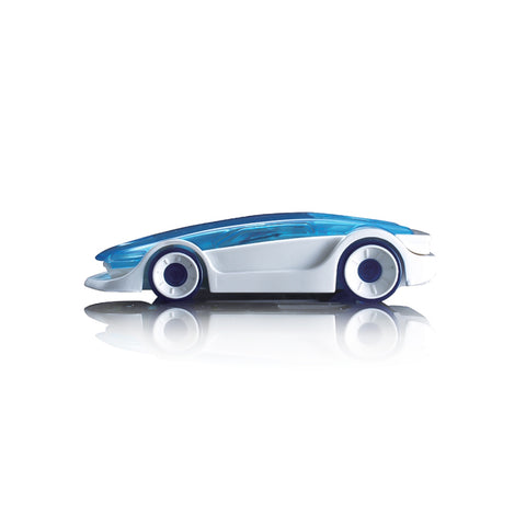 Small plastic car model assembled from translucent blue and white parts.