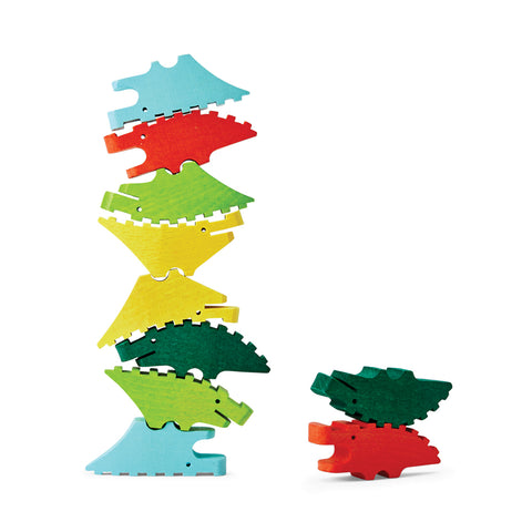 Facing sideways, a large and small stack of colorful mini crocodiles interlocked together.