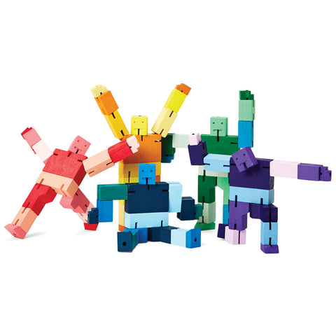 Five Capsule Collection Micro Cubebots in all color options standing in playful poses.