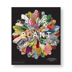 Black book cover dominated by a large flower with petals made of botanical photographs illustrations and patterns. Title in white sans serif capital letters in center