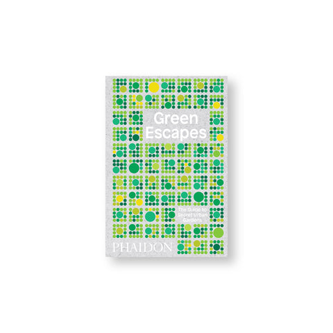 Gray chipboard book cover with pattern of squares made from dots in greens and yellows. Title in white sans serif letters