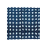 A pocket square opened flat with a navy and white polka dot pattern.