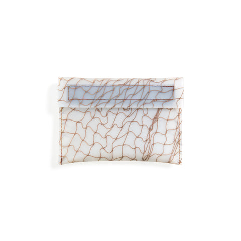 Translucent wallet with fishnet detailing in brown. Includes flap with velcro closure