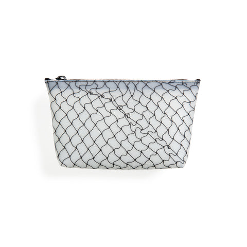 Translucent cosmetic bag featuring fishnet detail in black and top zip