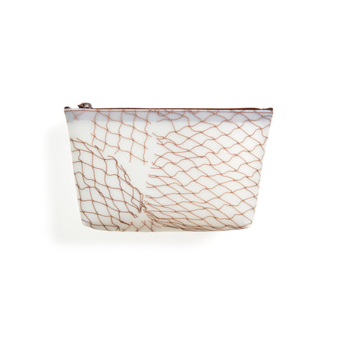 Translucent cosmetic bag featuring fishnet detail in brown and top zip