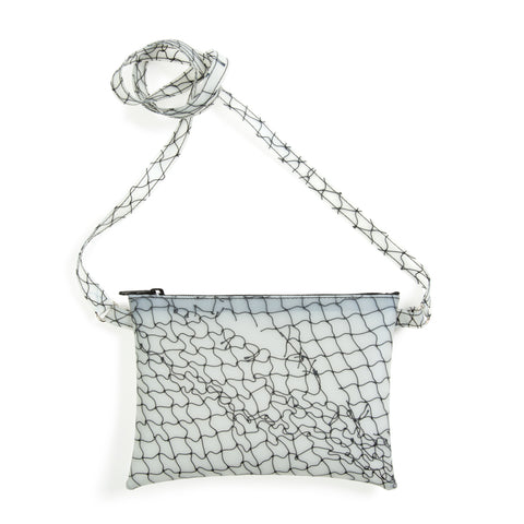 Small rectangular-shaped translucent bag with fishnet detail in black. Top zip closure