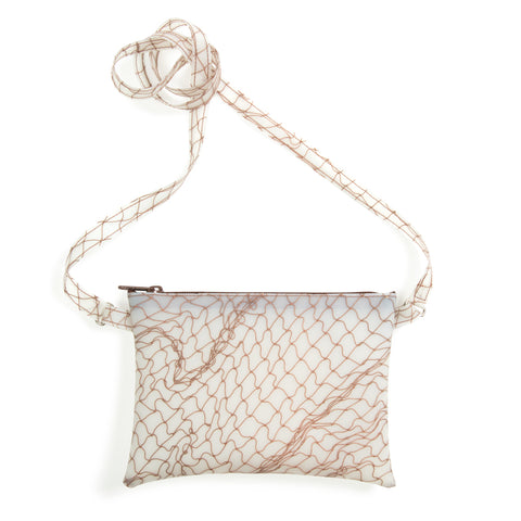 Small rectangular-shaped  translucent bag with fishnet detail in brown