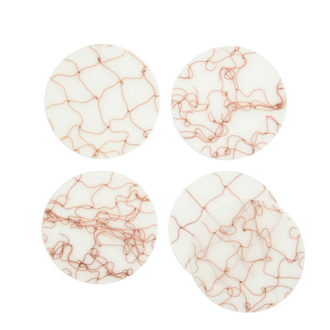 Translucent coasters, Set of 5, with brown fishnet detail